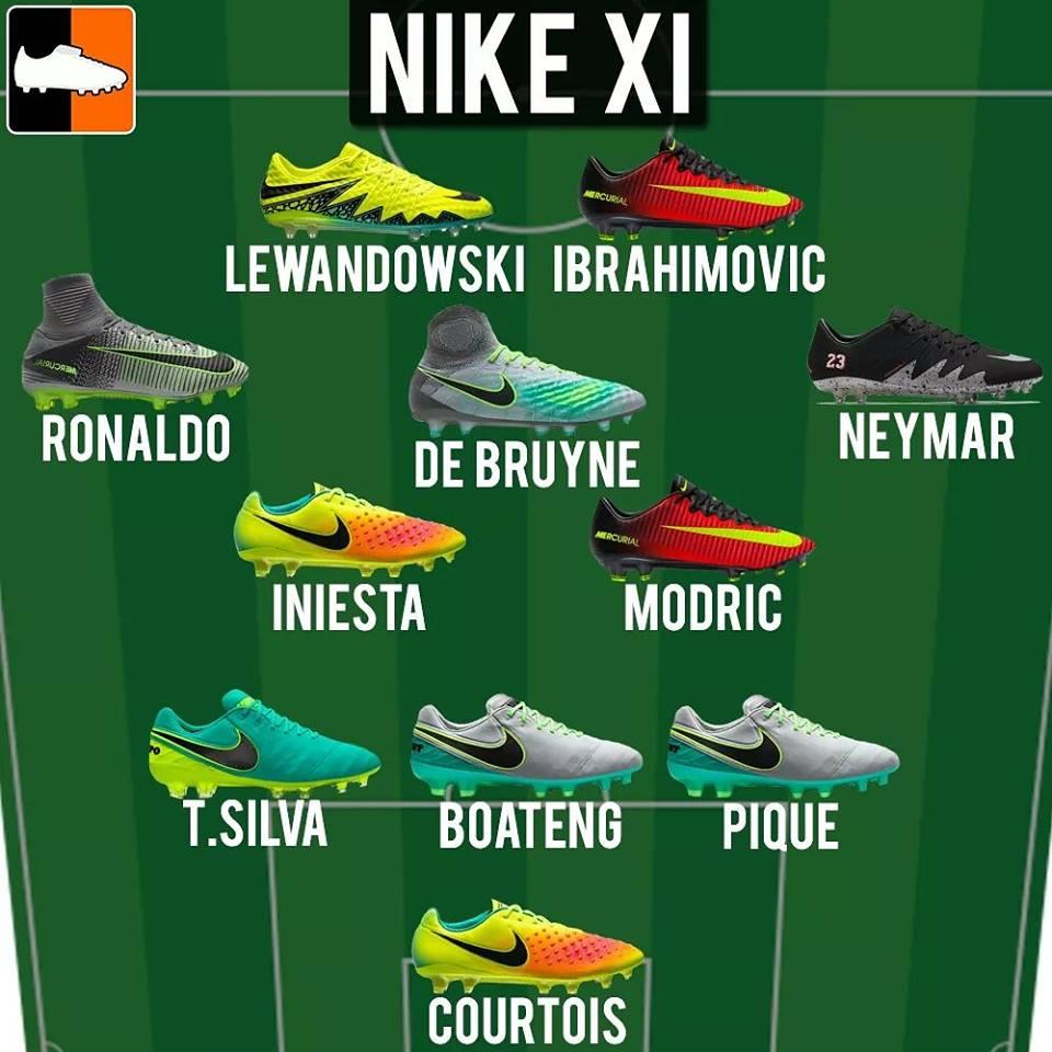 Nike voetbalschoenen spelers