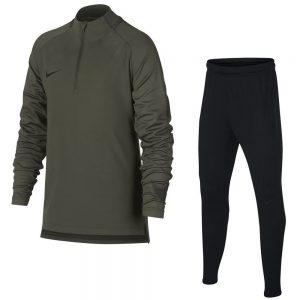 Nike Dry Squad Drill Trainingspak Kids Groen Zwart