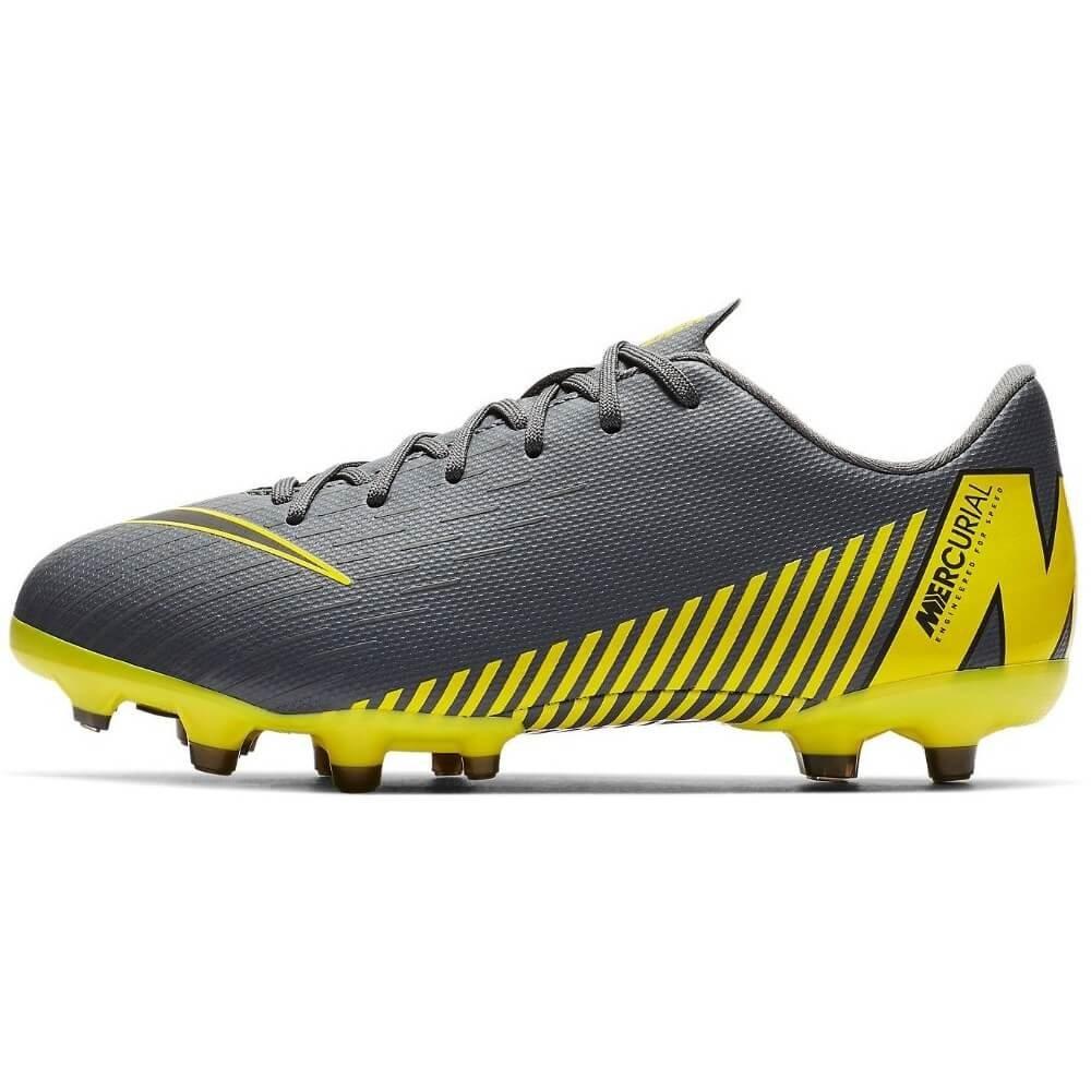 quality design 384a9 4c5cd Nike Mercurial Vapor 12 Academy MG Voetbalschoenen Kids Donkergrijs Geel
