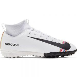 Nike Mercurial Superfly 6 ACADEMY GS TF Voetbalschoenen Kids Wit Zwart Platinum