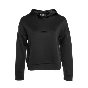 BALR. Black metal plate cropped hoodie Woman Black