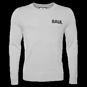 BALR. Big Logo Knit Straight Crew Neck Sweater Light Grey
