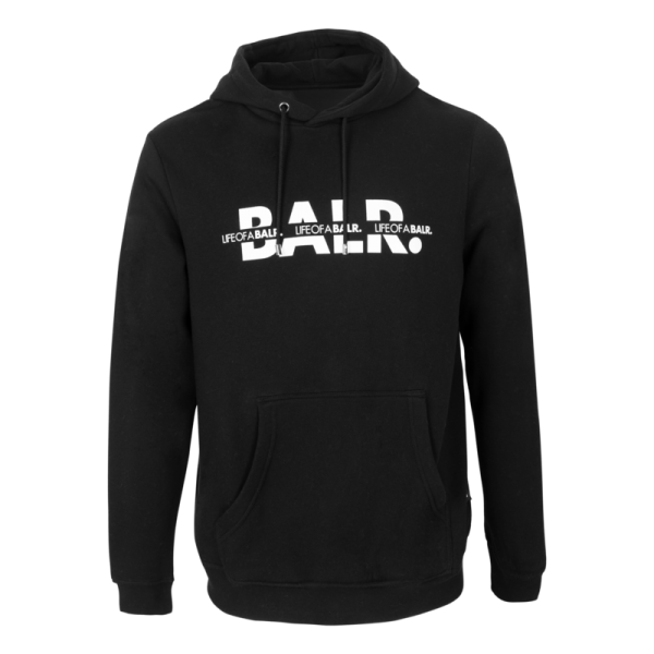 BALR. Crossed LOAB Straight Hoodie Black